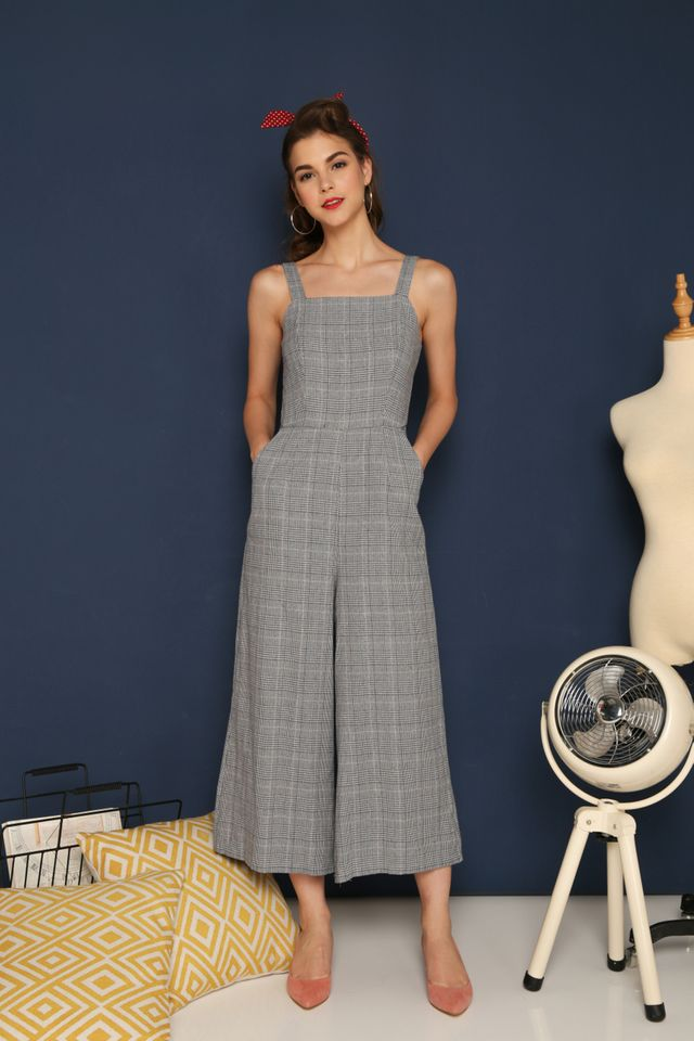 Leigh Plaid Jumpsuit in Grey (L)