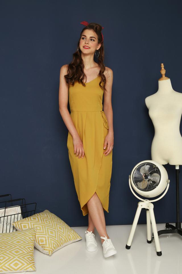 Estella Faux Wrap Maxi Dress in Mustard
