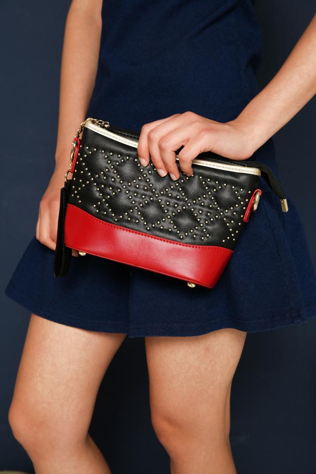 Delaney Studded Purse Sling Bag in Black