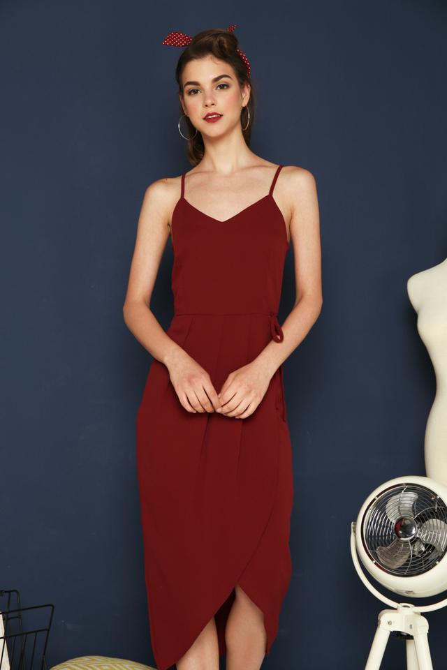 Estella Faux Wrap Maxi Dress in Maroon
