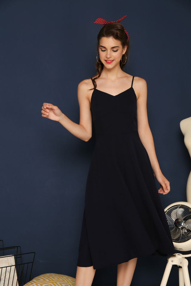 Rhiannon Flare Dress in Navy