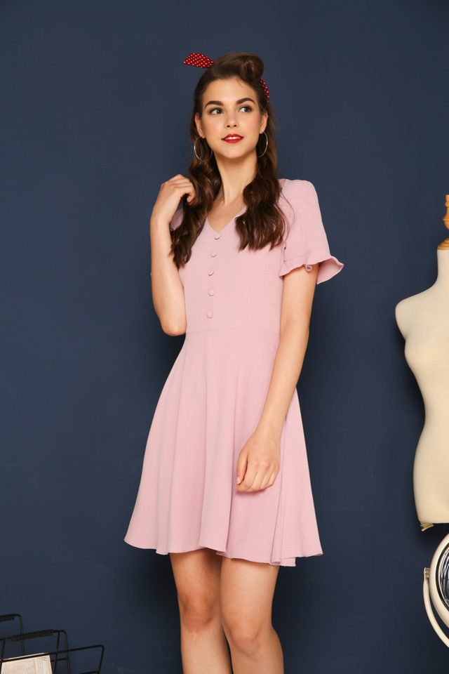 Vivienne Button Flare Dress in Dusty Pink (XS)