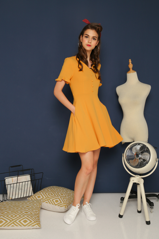Vivienne Button Flare Dress in Mustard (XS)