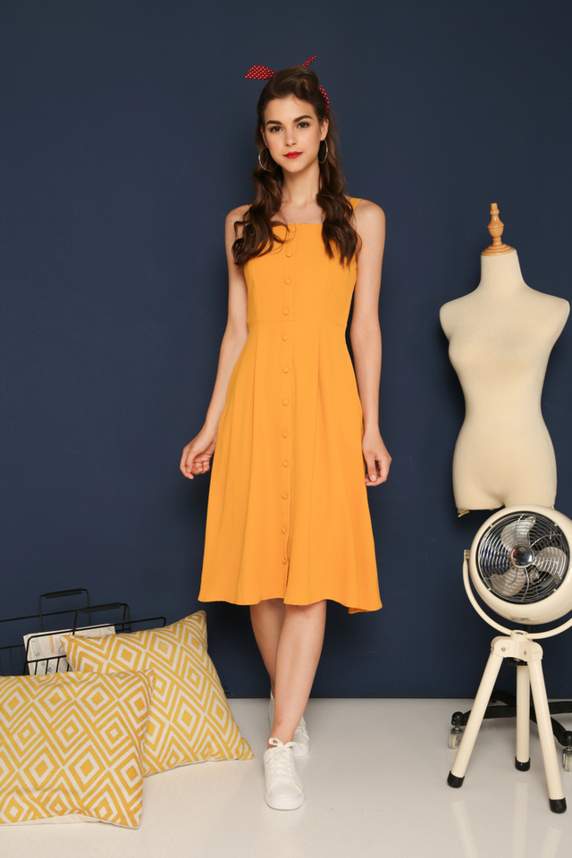 Mirabelle Button Down Midi Dress in Mustard