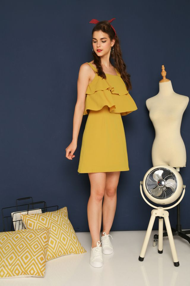 Reagan Layered Shift Dress in Dusty Mustard (XL)