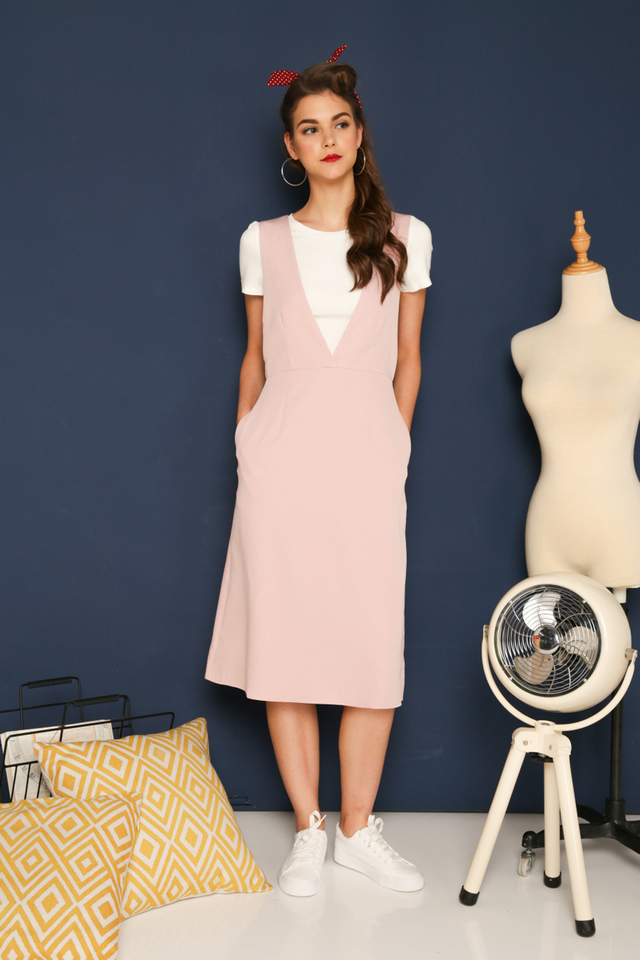 Kass Deep V-Neck Pinafore Dress in Dusty Pink