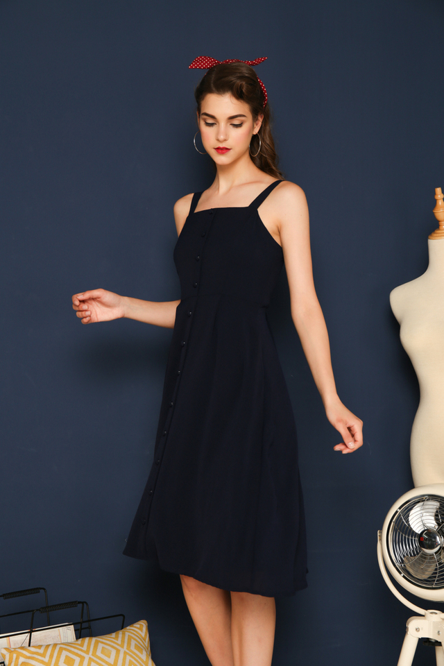 Mirabelle Button Down Midi Dress in Navy