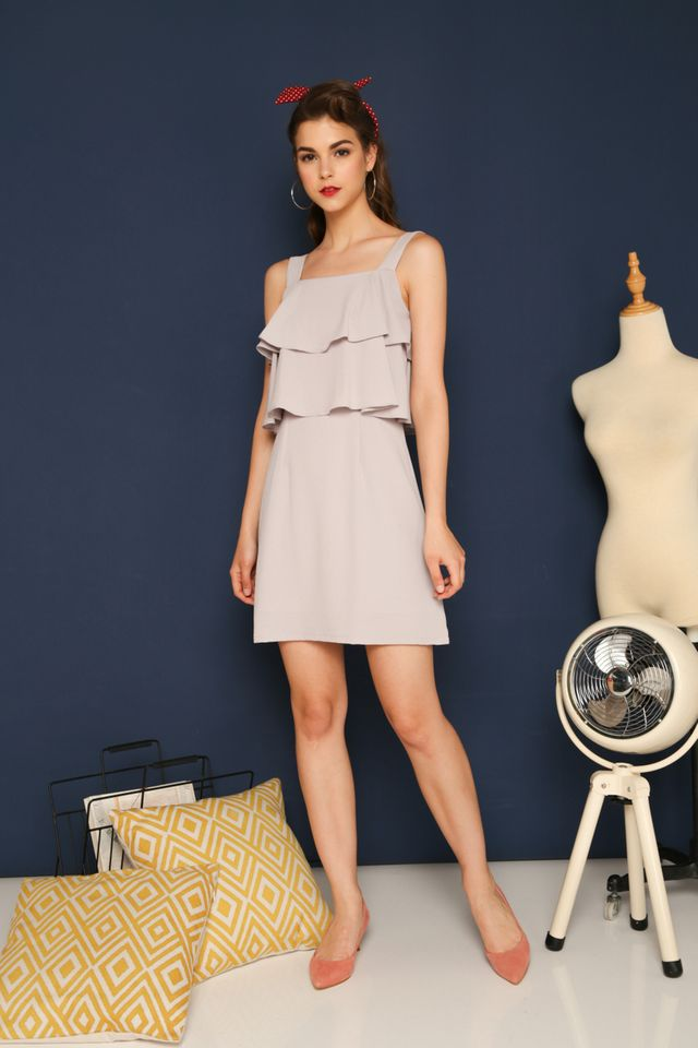 Reagan Layered Shift Dress in Grey (XL)