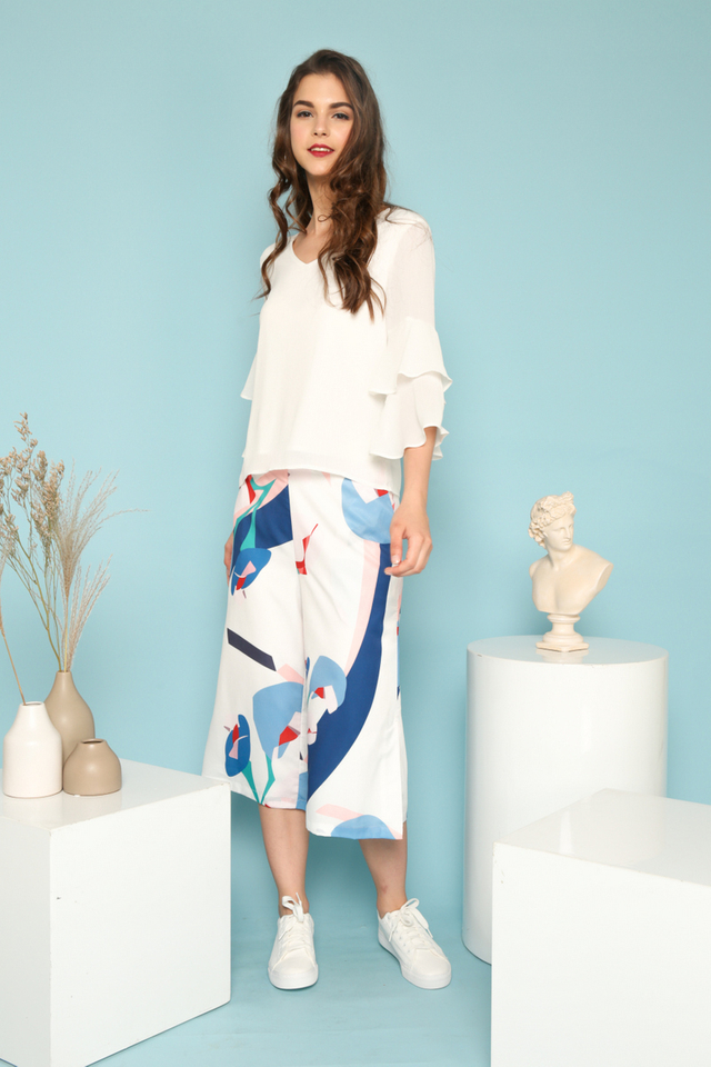 Jazlyn Abstract Print Culottes in White