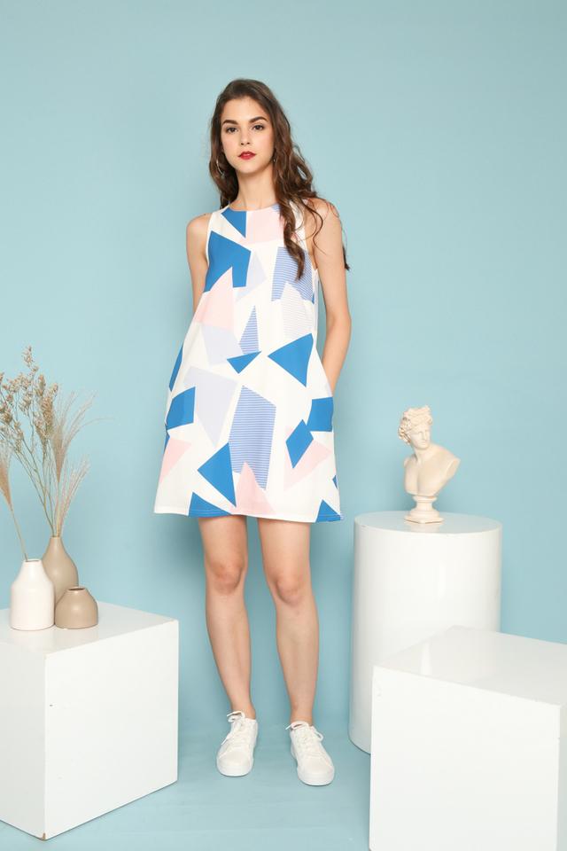 Olea Geometric Trapeze Dress in Sapphire Blue