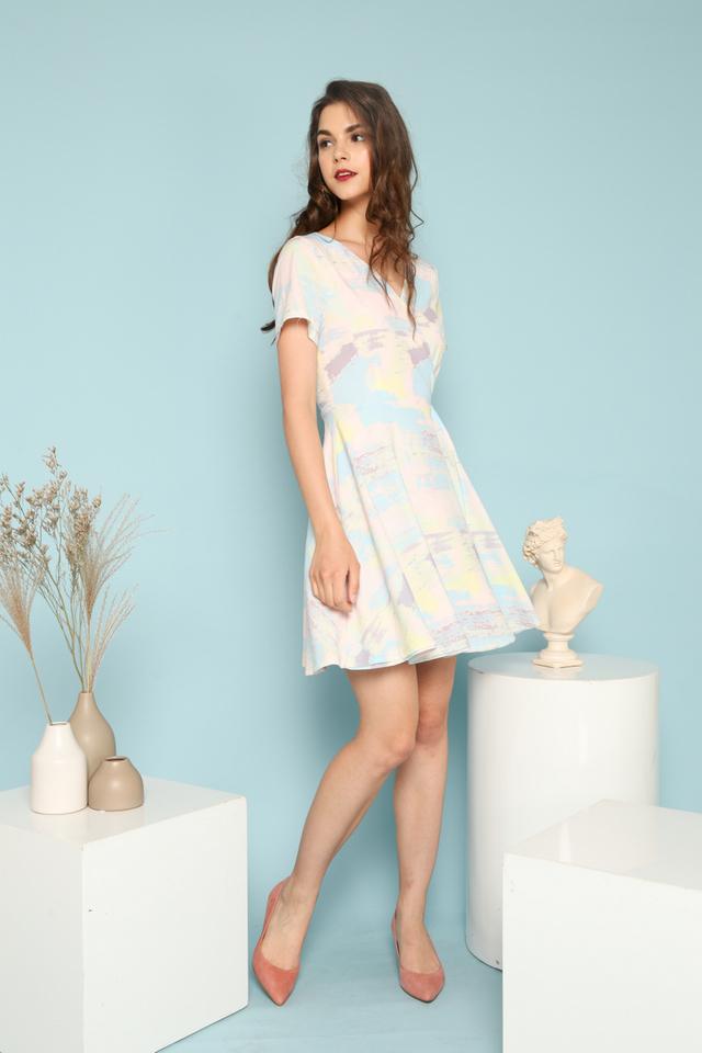 Lilah Paintbrush Faux Wrap Dress in Light Blue (XS)