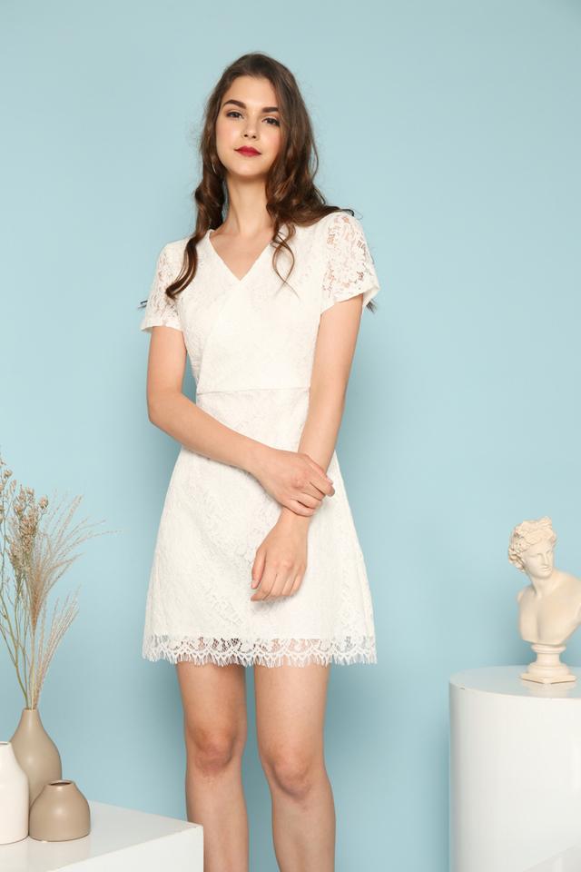 Desiree Faux Wrap Lace Dress in White