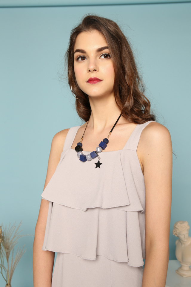 Lavinia Geometric Necklace in Navy