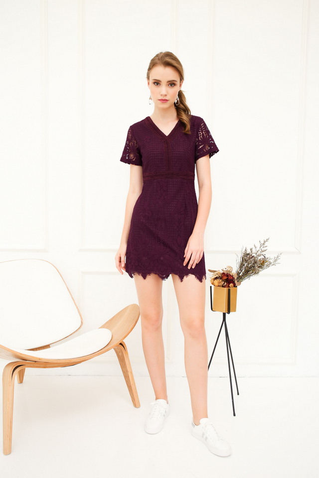 Hebe Crochet Fringe Hem Dress in Plum