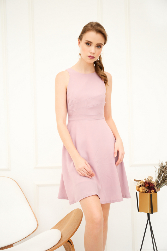 Parrisan Lines Flare Dress in Dusty Pink