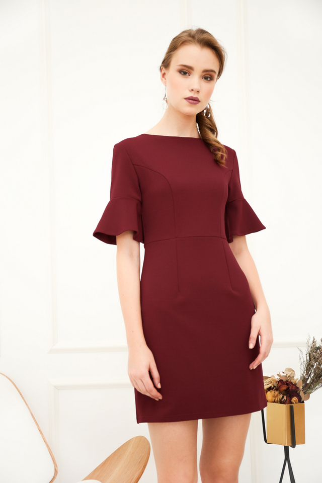 Fawn Bell Sleeve Work Dress in Wine Red (XS)