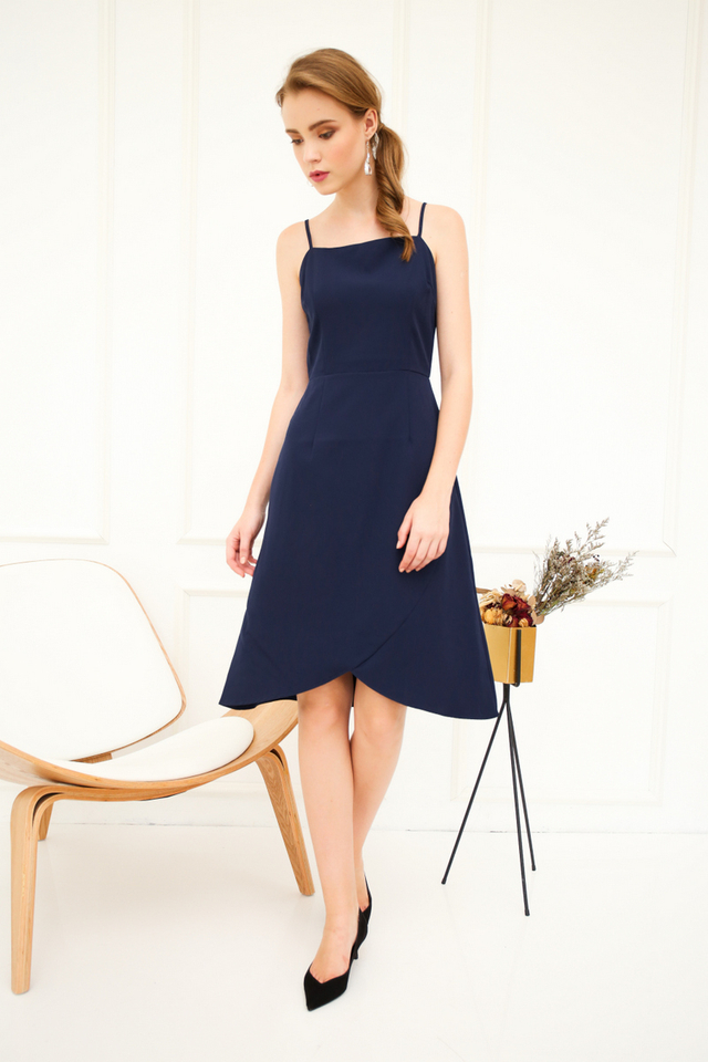 Brynn Asymmetrical Sheath Dress in Navy