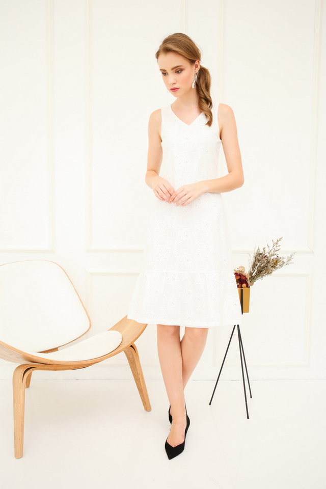 Annora Eyelet Ruffles Midi Dress in White