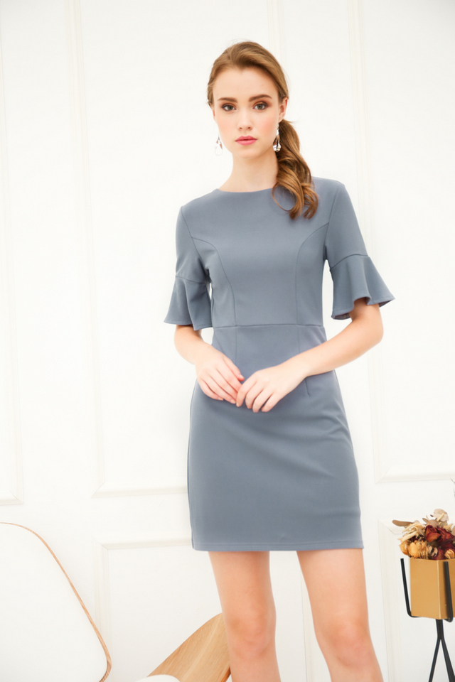 Fawn Bell Sleeve Work Dress in Dusk Blue (L)