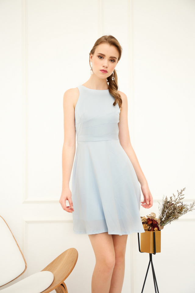 Parrisan Lines Flare Dress in Powder Blue