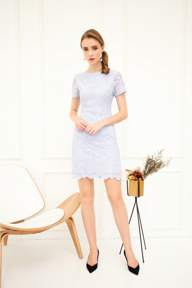 Cecily Floral Crochet Sheath Dress in Powder Blue (XS)