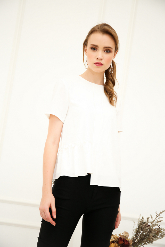 Olandea Folded Ruffles Top in White
