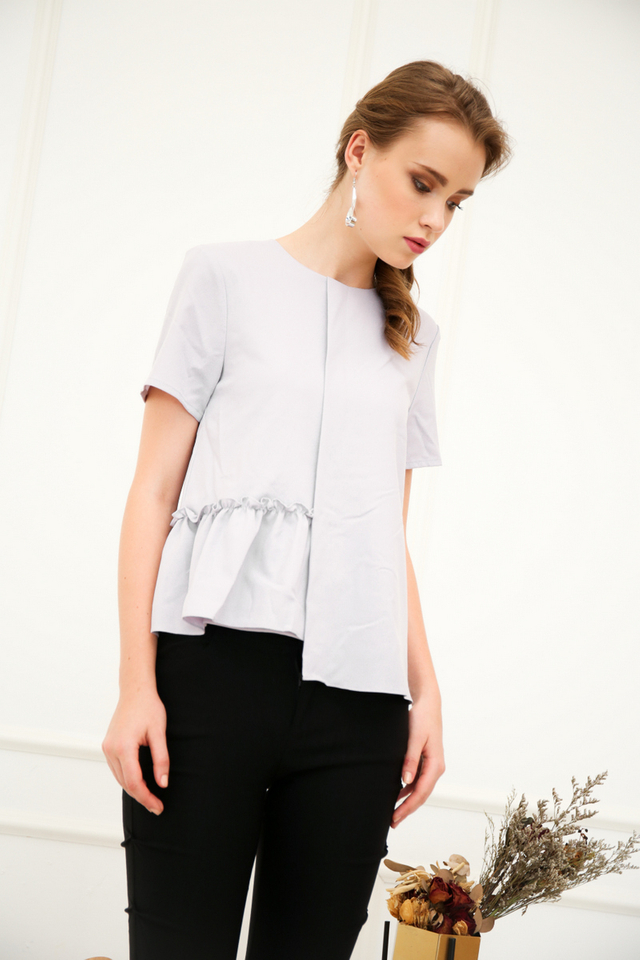 Olandea Folded Ruffles Top in Grey