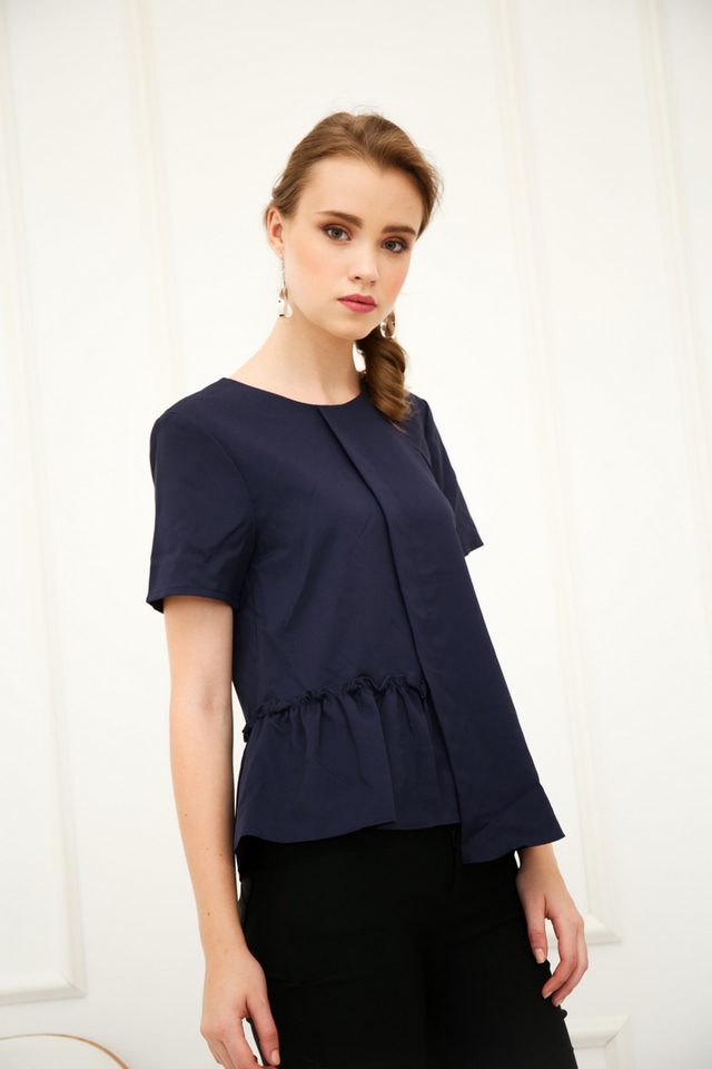 Olandea Folded Ruffles Top in Navy
