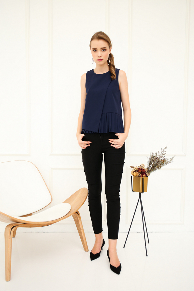 Hester Layered Pleats Top in Navy