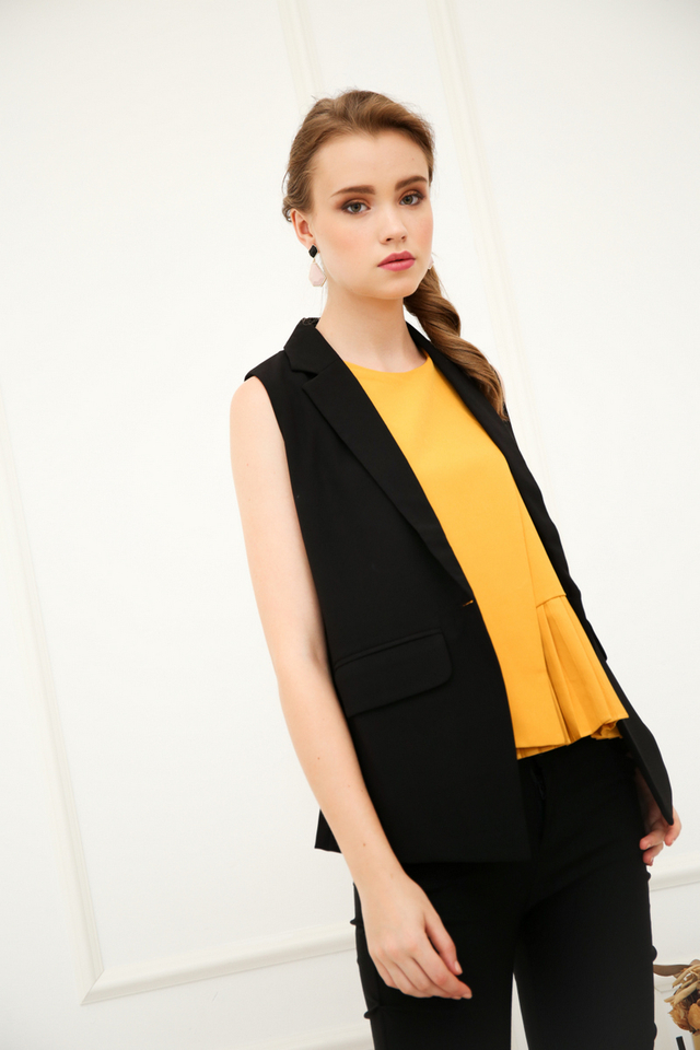 Hester Layered Pleats Top in Mustard