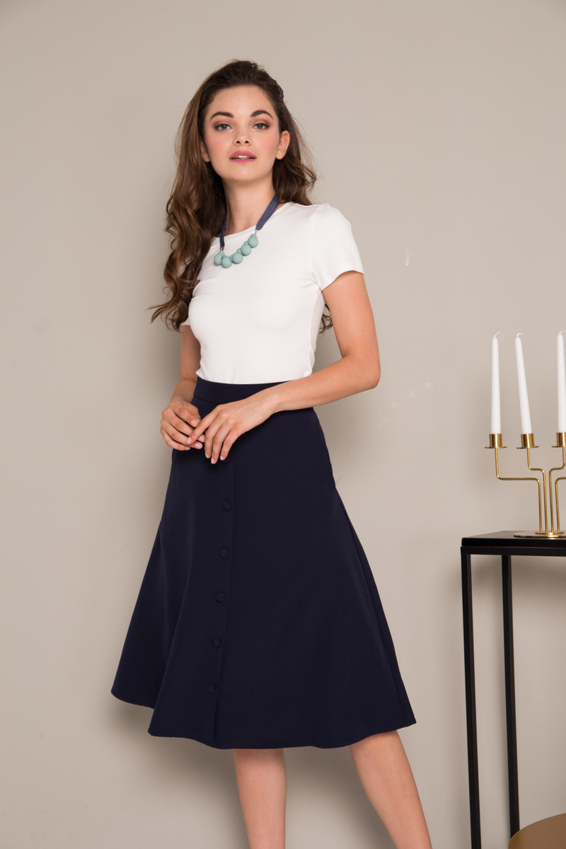 bc34f93851 Odessa Button Down Midi Skirt in Navy Blue