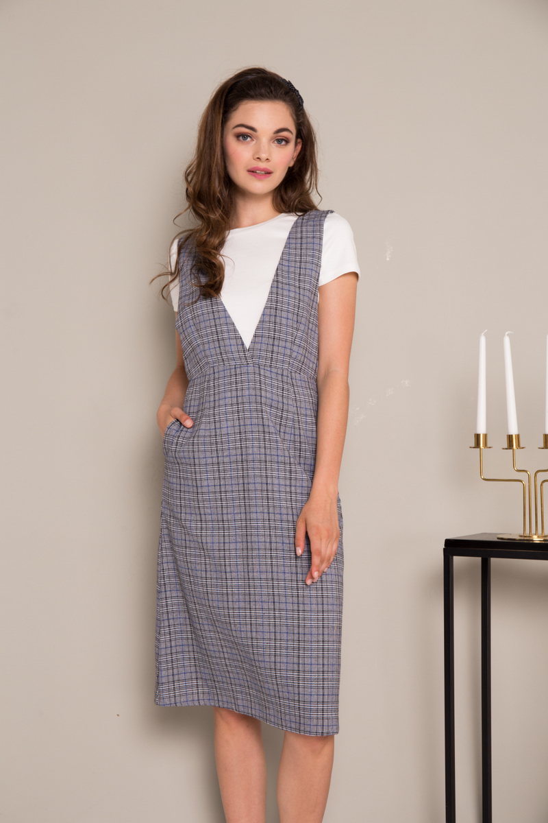 4ceb38d7c3d Leary Plaid Pinafore Dress in Grey