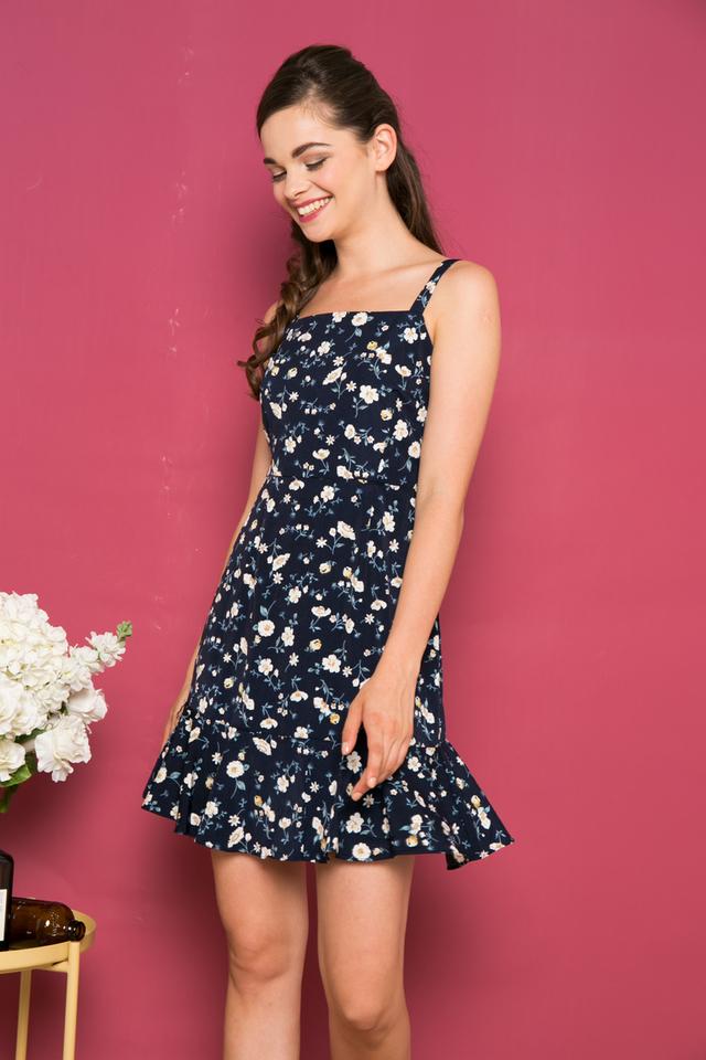 Esmie Floral Ruffled Hem Dress in Navy