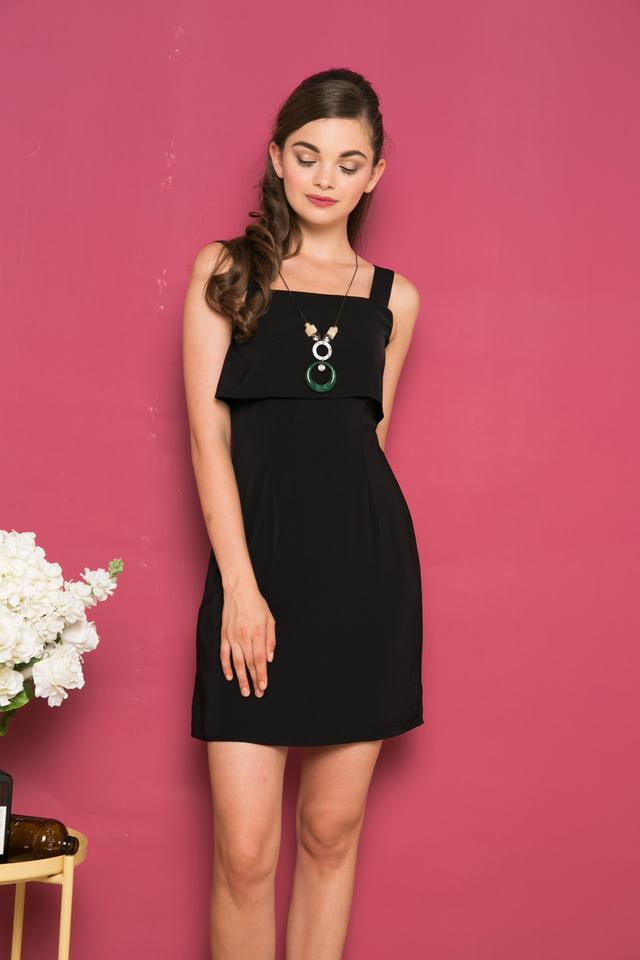 Ceil Layered Sheath Dress in Black (S)