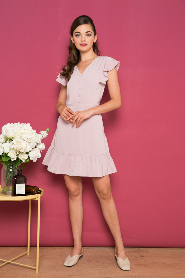 Jocasta Faux Button Ruffles Dress in Dusty Pink