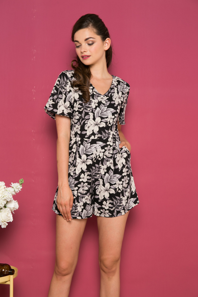 Fifer Floral Romper in Black