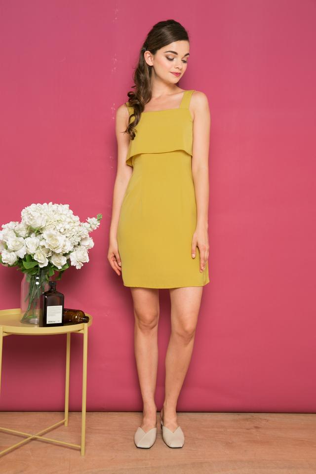 Ceil Layered Sheath Dress in Dusty Mustard