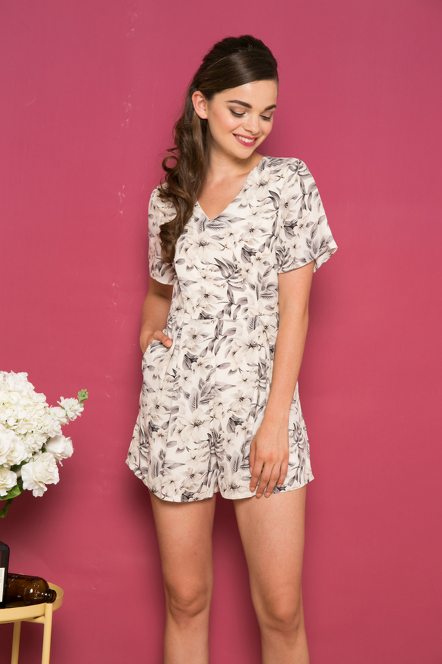 Fifer Floral Romper in Cream