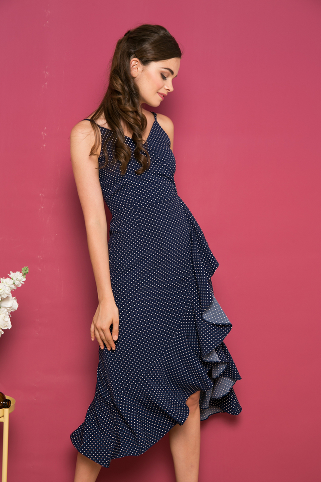 Marcella Polka Dot Asymmetrical Maxi Dress in Navy (S)