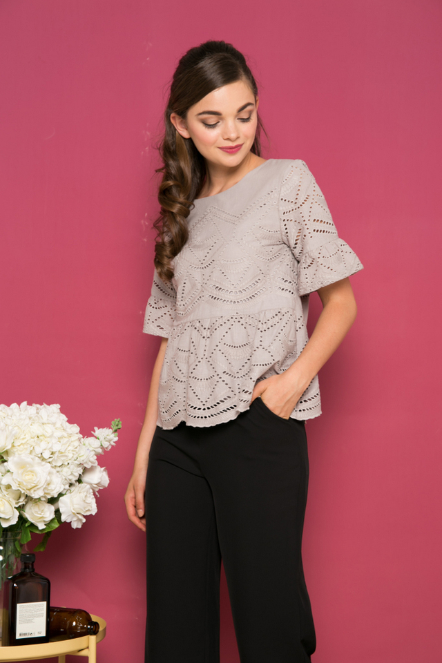 Luca Eyelet Babydoll Top in Grey