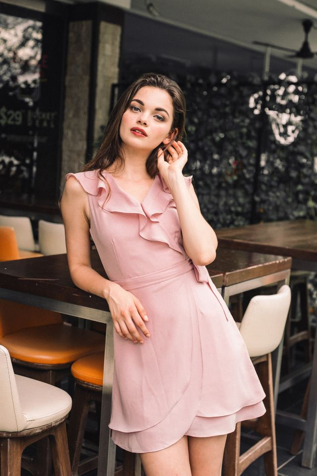 Odelle Ruffles Petal Dress in Dusty Pink