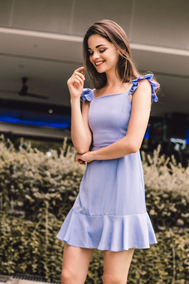 Lilianna Ruffled Sleeve Dress in Cornflower Blue