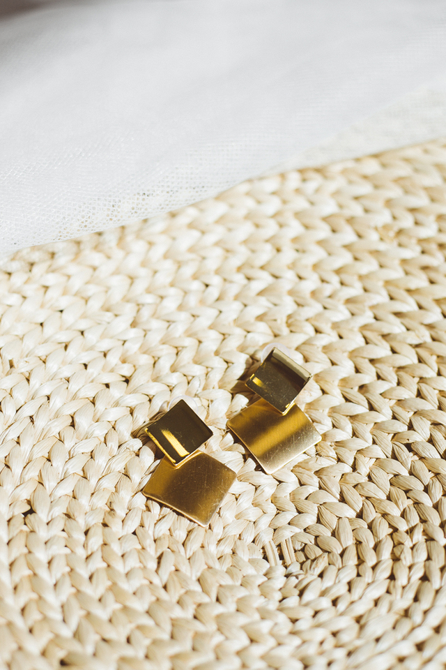 Heloise Gold Earrings in Square