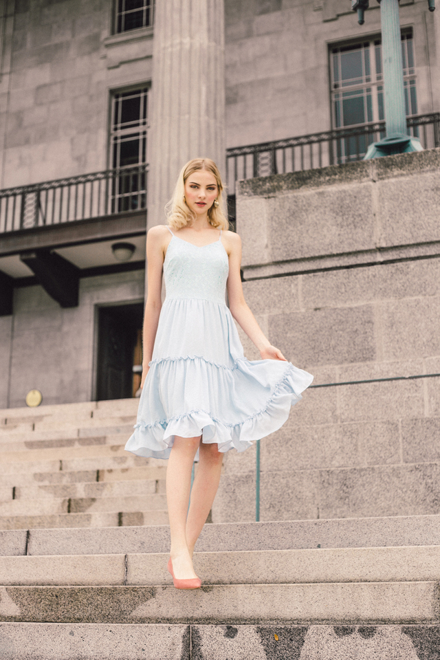 Gwendolen Lace Tiered Ruffles Dress in Light Blue