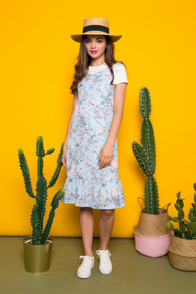 Gisela Two-piece Floral Midi Dress in Light Blue