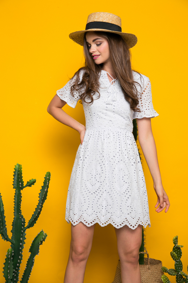 Mairi Eyelet Tassel Dress in Light Blue (L)