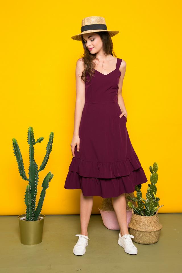 Kiersten Tiered Ruffles Midi Dress in Plum