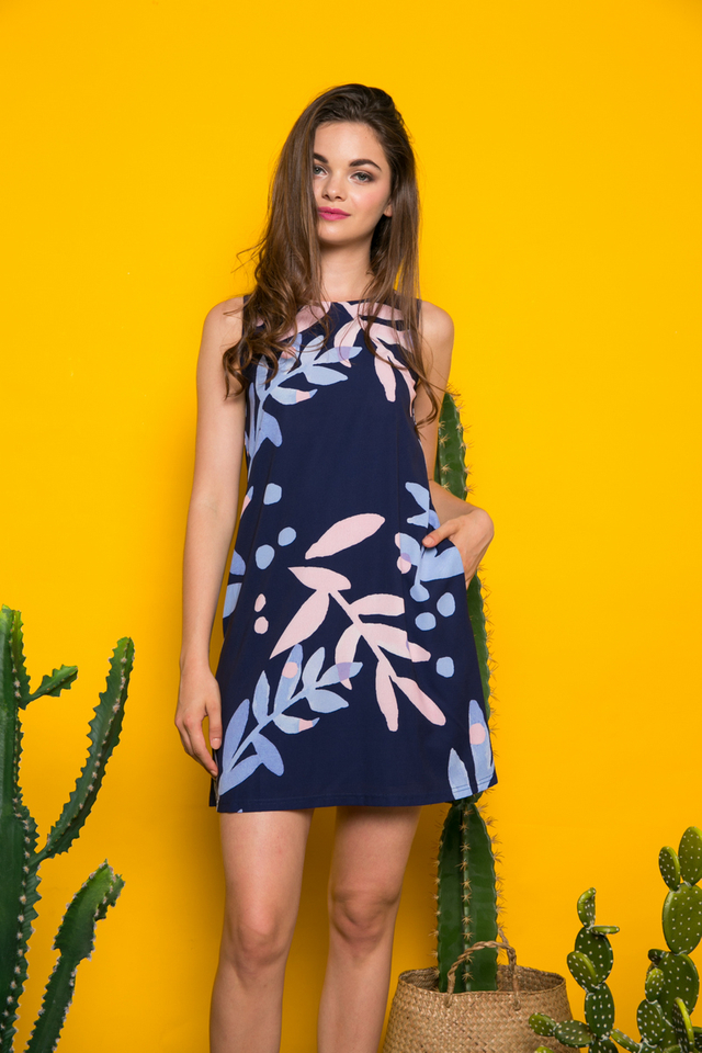 Valen Foliage Trapeze Dress in Navy