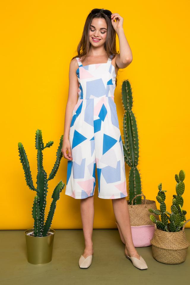 Pomona Geometric Jumpsuit in Sapphire Blue