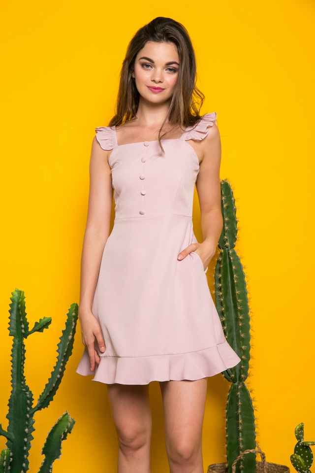 Chesney Button Ruffles Dress in Dusty PInk
